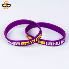 2017 best selling items silicone wristbands with embossed color filled Party all night sleep all day Silicone Bracelets