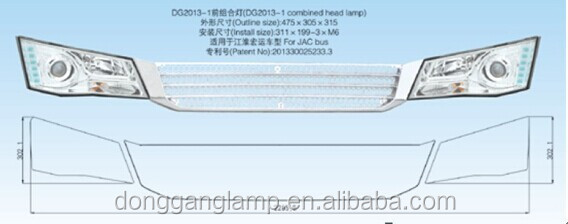 Donggang Factory OEM Design New JAC LED Bus head light