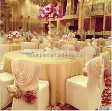 100PCS MOQ New Design Luxury Spandex Chair Cover With Valance/ Drape At Back For Wedding Use