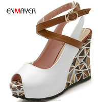Lady fashion peep toe cross lace up wedge shoes sweet paty sling back platform pumps wholesale price women shoes