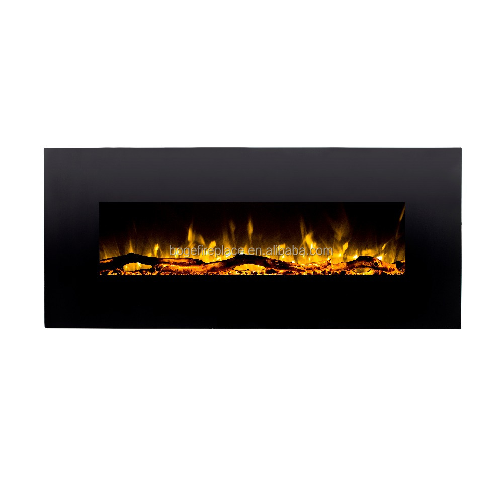 "2018 NEW 50"" black wall mounted electric fireplace heater with LED flame"