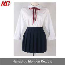school uniforms wholesale Full Set with ties t-shirt and Pleated skirt
