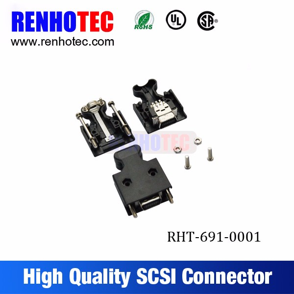 SCSI connector IDC type 14 20 26 pin SCSI male connector 14p 3M screw solder type wire connector scsi cable 20pin