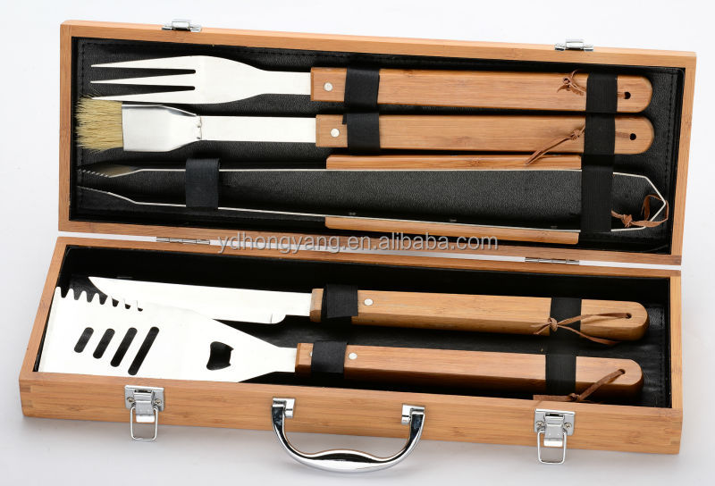 best selling weeken family day BBQ s/s 3pcs barbecue tool set with bamboo handle