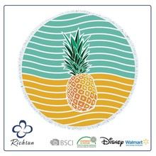 Wholesale 100% Cotton Printed Beach Towel Round