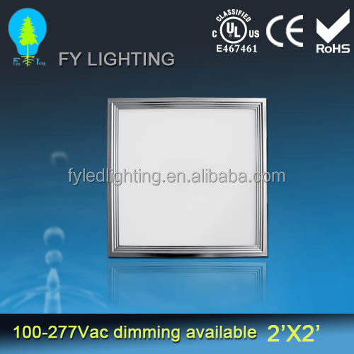 100-277VAC 50000 hours lifespan UL CUL CSA listed 2'x2' square flat led panel ceiling lighting with 5 years warranty