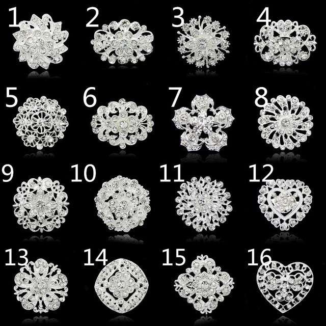 No minimum order  !!!!!! Fashion brooches pins silver vintage crystal brooch bouquet for wedding womens brooch