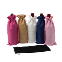 Low cost low MOQ stock plain jute beer bottle wine drawstring bag
