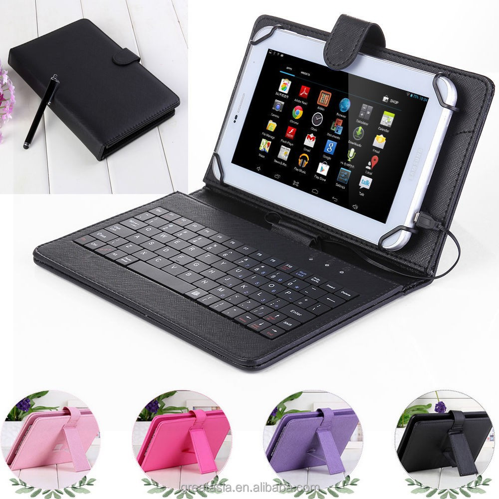 "7"" inch Leather Tablet Folio USB keyboard Case Stand Cover"