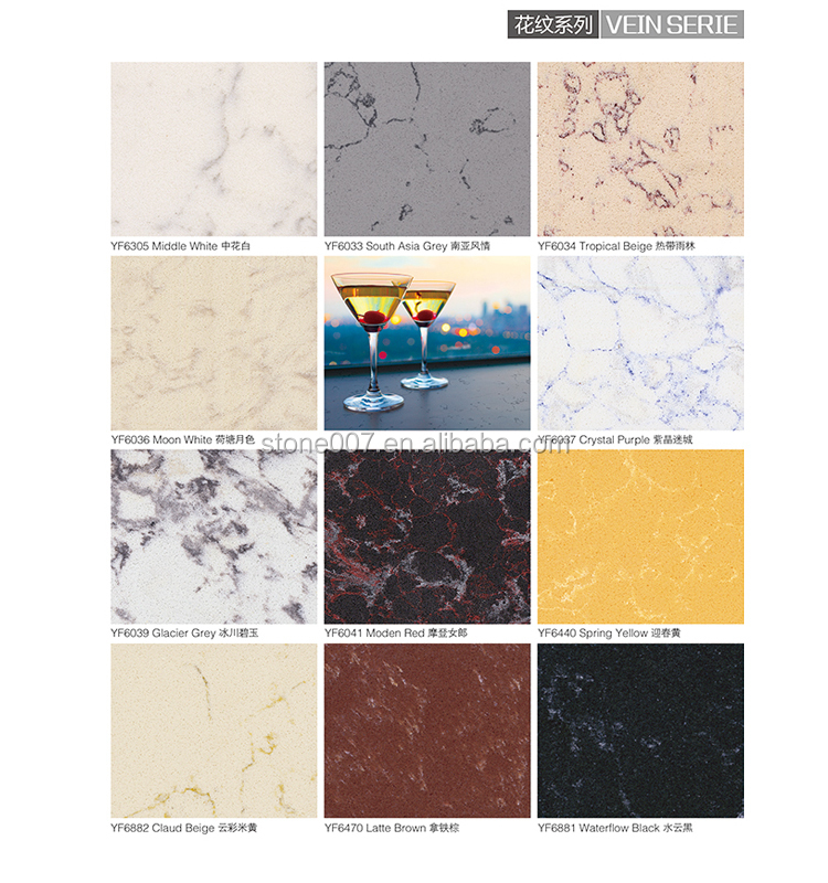 Hot sale man made countertop material quartz vanity top for Synthetic countertop materials