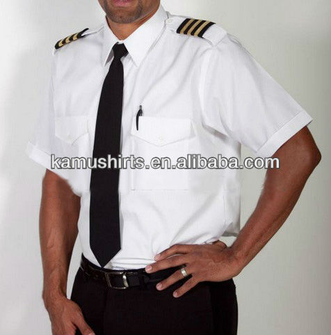 Man air line Pilot Uniform Shirt White Pilot Shirt Short Sleeve Pilot Shirts