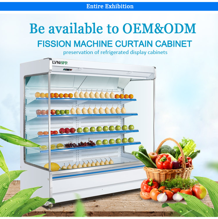 LVNI 2m 2.5m 3m customized supermarket commercial fruit vegetable display refrigerator with compressor outside