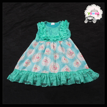 summer Yawoo light green lace floral pattern fashion games for girls dress up new baby clothing wholesale kid dresses