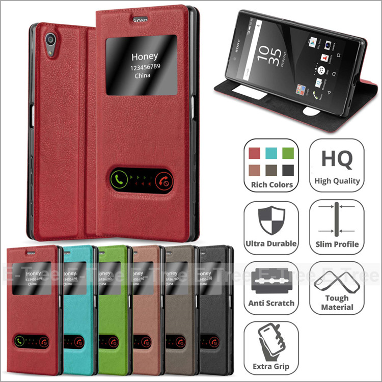 2017 View Magnetic Pu Leather Phone Case Cover For Sony Xperia Z5