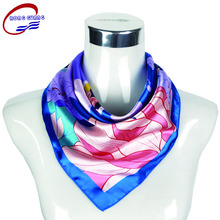China manufacturer wholesale design digital logo print satin custom silk scarf