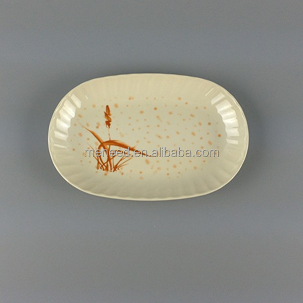 Autumn grass design factory smart oval customized melamine dishes