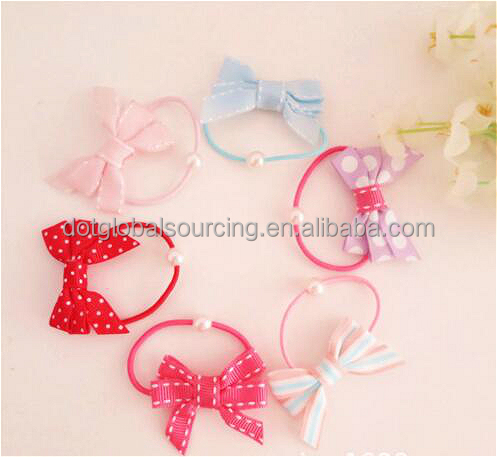 Cheap Elastic Girl Rope Children Ponytail Holder Kids New Hairband Bow Hair Ring Band Hair Accessory