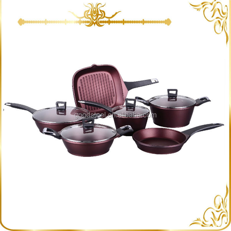 10pcs newest wine red color die cast aluminum cookware set MSF-6166