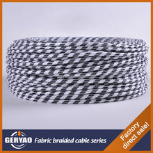 Coloured white black spiral vintage cloth covered 3-wire fabric textile 3-wire braided cotton braided 3-wire