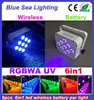 Hotsale 9pcs 18w 6in1 rgbwa uv battery wireless led par can dj lighting