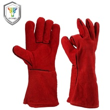 Cheap long sleeve cow split leather welding gloves price
