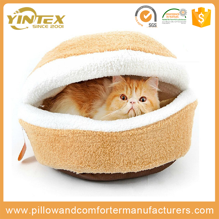 Pet Bed Luxury Cute Design Half Covered Soft Cozy Sleeping Bag Mat Warm House Cave shaped Cat Dog Bed
