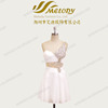 White shiny latest design breast beaded one shoulder chiffon cocktail dress pleated