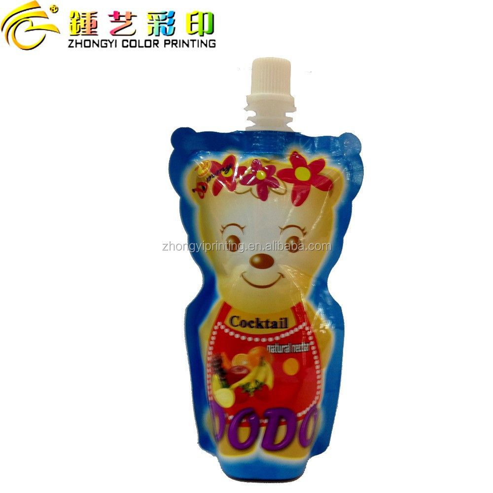 GUANGDONG Special-shape food packing bag,with center spout top standing pouch packing&printing