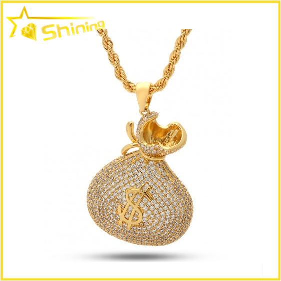 Fashion jewelry wholesale 18k solid gold pendant micro pave hip hop