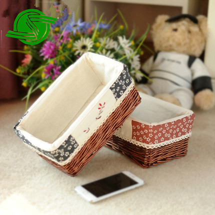 New Beautiful Storage wicker fruit basket with fabric lining
