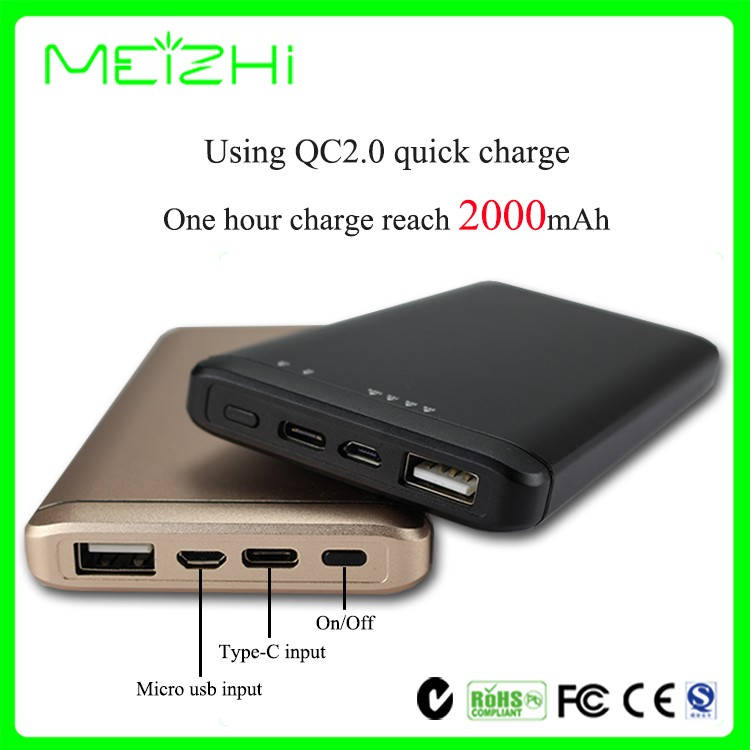 2016 a new type of black portable and efficient battery charger 10000mah power bank