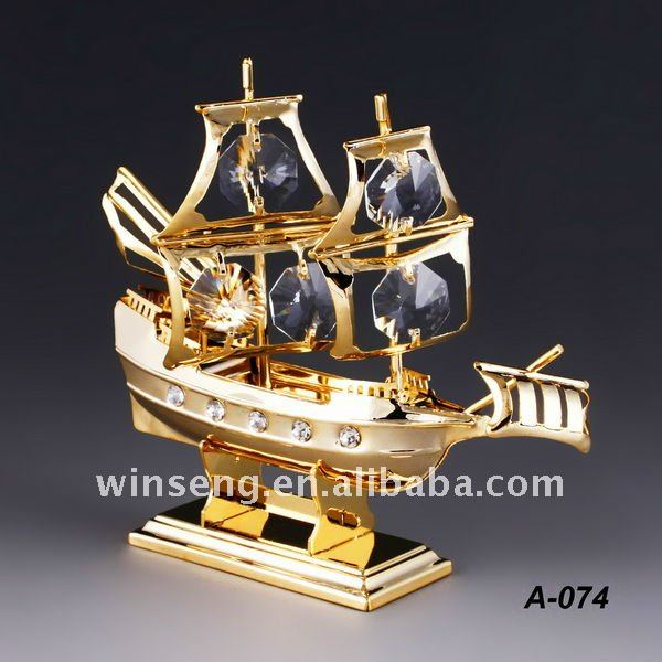 24K gold plated decorative ship with elements