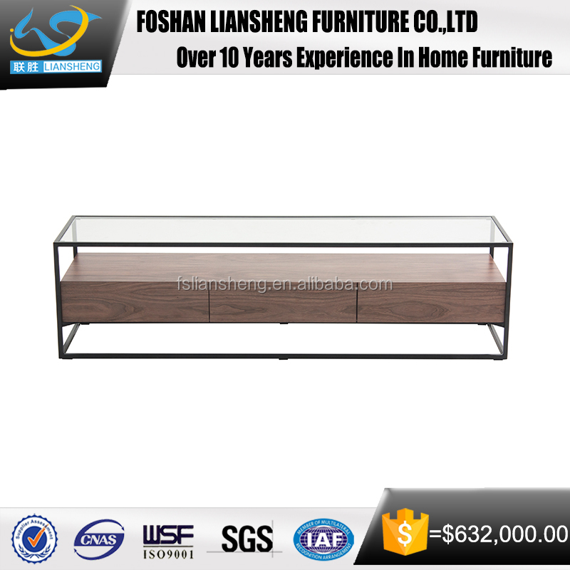 2017 latest hot sale concise style glass top wood coffee table