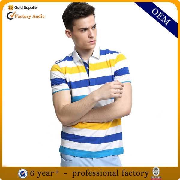 Design mens polo collar striped t shirt