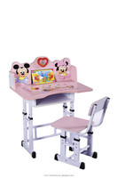 nice cartoon picture school children desk and chair with low price