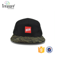 black custom flat bill blank snapback hats 5 panel wholesale made in china guangzhou factory