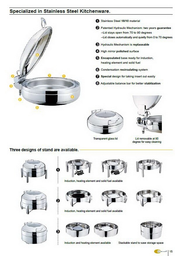 Stainless steel Hydraulic chafing dish round shape 11L glass lid Unique collection