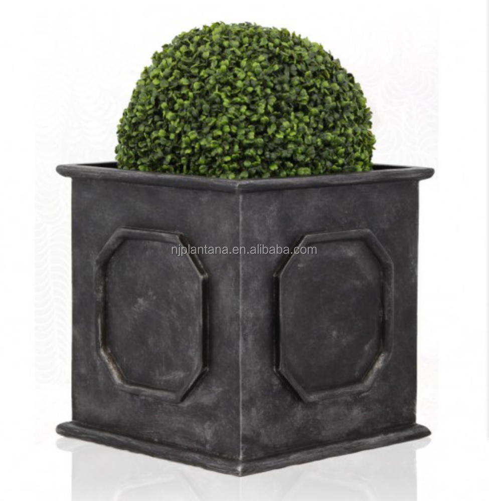 Promotional square carbon black indoor FRP garden pottery