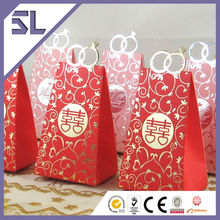 Chinese Style Red Double Happiness Wedding Ring Bag Shape Favor Box
