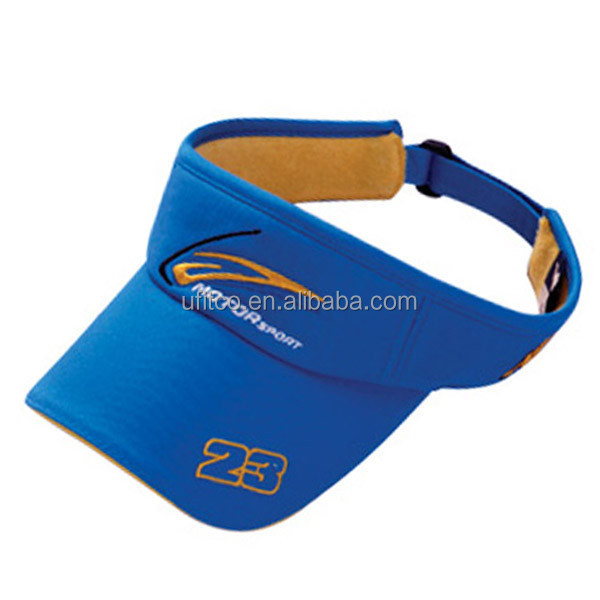 2014 top quality 100% cotton foam cap wholesale royal blue custom embroidered sun visor