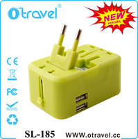 Latest hot sales international travel adapter with dual USB 2400mA multi plugs for EU UK AUS US