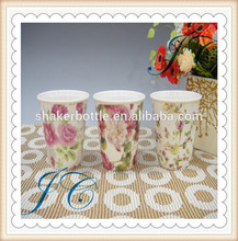 Fashion design rose pattern ceramic coffee mug without handle