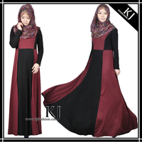 2014 New dubai islamic abayas design with color matching and round collar