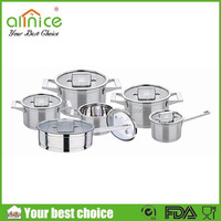 12pcs stainless steel cookware set with 2 tiers capsulated bottom / #201 steel kitchenware and cookware