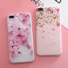 Hot sale phone accessories Floral blossom soft TPU cover mobile phone case For iPhone 6s 7 8 Plus X