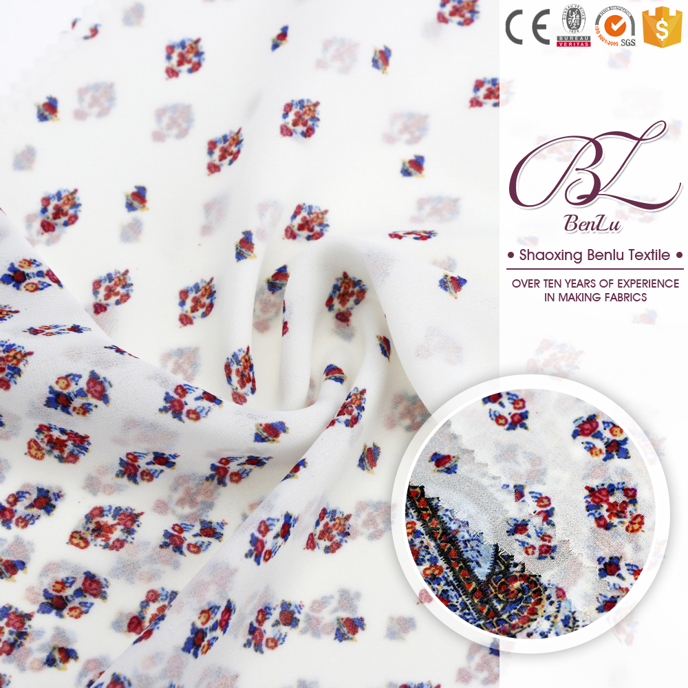 Beautiful shaoxing cheap polyester printed chiffon fabric rolls different types dress materials