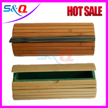 Handmade Natural Bamboo Box Round Wood Beige Cylindrical Shaped Wooden Sunglasses Cases