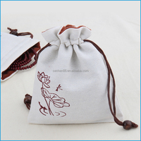 White linen drawstring gift bag for jewelry pouch bag on sale