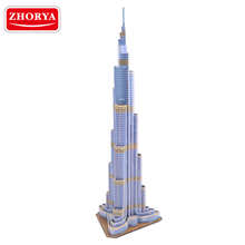 Zhorya 3D puzzle DIY building Burj Khalifa Tower intellective game for the children toys