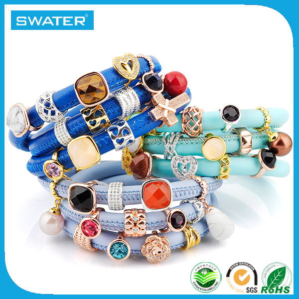 Ally Express Wholesale Fashion Custom Endless Jewelry Wrap Leather Charms Bracelets For Women Making